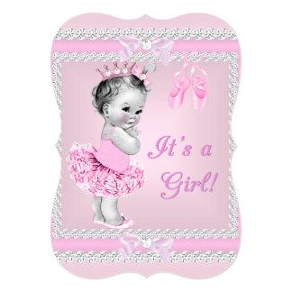 Bailarina cor-de-rosa bonito da menina do chá de convite 12.7 x 17.78cm