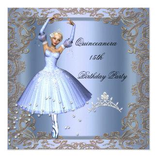 Bailarina do azul da festa de aniversário de convite quadrado 13.35 x 13.35cm
