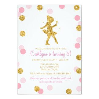 Bailarina do brilho, rosa e aniversário da faísca convite 12.7 x 17.78cm