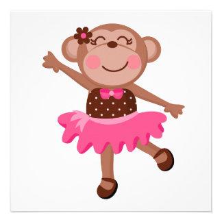 Bailarina do macaco convites personalizados