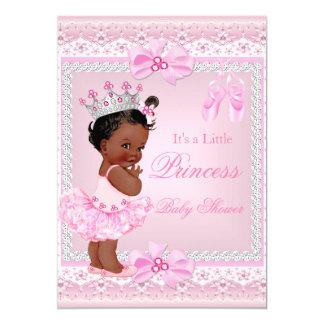 Bailarina do rosa da menina da princesa chá de convite 12.7 x 17.78cm