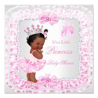 Bailarina do rosa da menina da princesa chá de convite quadrado 13.35 x 13.35cm
