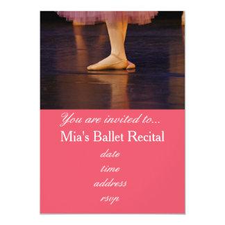 Bailarina do rosa do concerto do considerando do convite 12.7 x 17.78cm