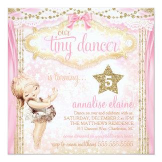 Bailarina minúscula do dançarino do vintage mágico convite quadrado 13.35 x 13.35cm