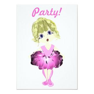 Bailarina no convite de festas cor-de-rosa do tutu convite 12.7 x 17.78cm
