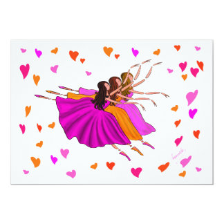 Bailarinas coloridas bonitos que dançam e que convite 12.7 x 17.78cm