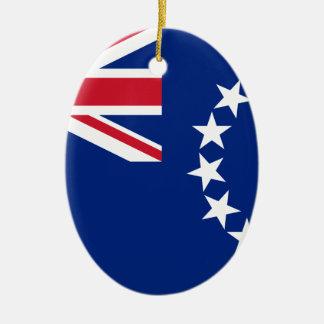 Baixo custo! Bandeira das Ilhas Cook Ornamento De Cerâmica Oval