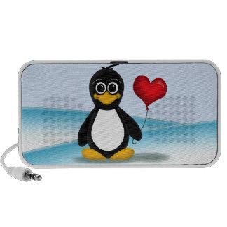 Balão bonito do coração do pinguim - auto-falante  caixinha de som portátil