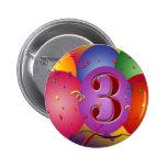 Balão colorido do aniversário de 3 anos botons