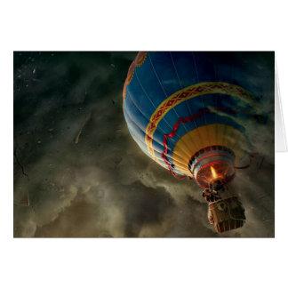 Balão de ar quente no cartão de cumprimentos da