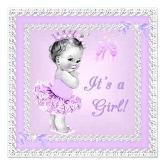 Balé roxo bonito da menina do chá de fraldas do convite quadrado 13.35 x 13.35cm