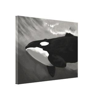 baleia de assassino preto e branco impressão de canvas esticada