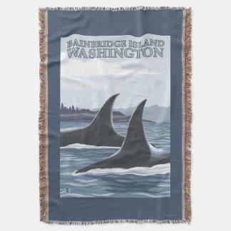 Baleias #1 da orca - ilha de Bainbridge, Throw Blanket