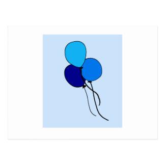 Ballons azuis cartão postal