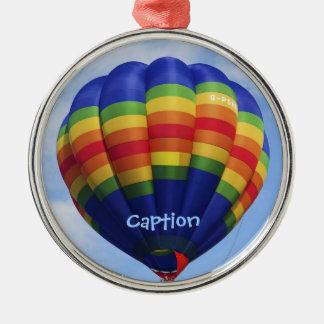Ballooning do ar quente do arco-íris ornamento redondo cor prata