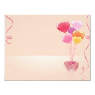 Balões & chocolates do coração convite personalizado