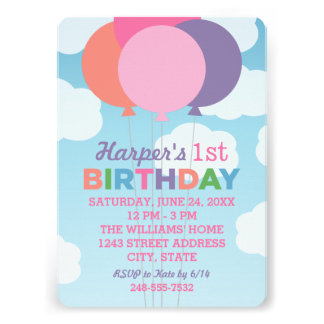Balões coloridos do convite de aniversário