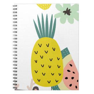 Balões da fruta cadernos espirais