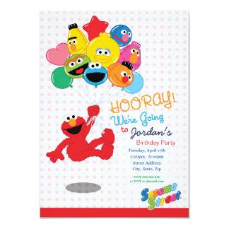 Balões do aniversário de Elmo e de amigos Convite 11.30 X 15.87cm