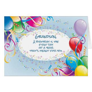 Balões do aniversário do neto cartoes
