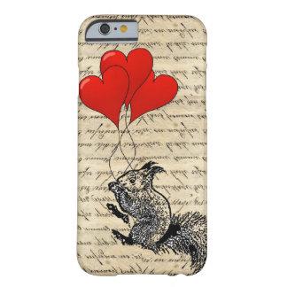 Balões do esquilo e do coração capa barely there para iPhone 6