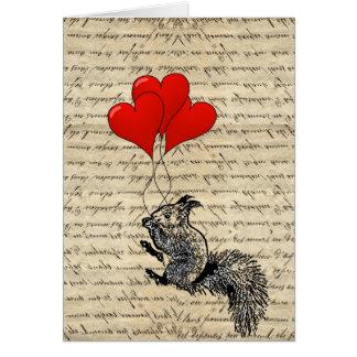 Balões do esquilo e do coração cartão de nota
