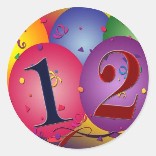 Balões do feliz aniversario - 12o aniversário adesivo