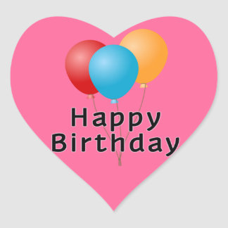 Balões do feliz aniversario adesivo coração