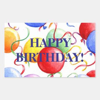 Balões do feliz aniversario das etiquetas do adesivo retangular