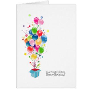 Balões dos cartões de aniversário do chefe que