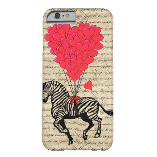 Balões engraçados da zebra & do coração do vintage capa barely there para iPhone 6