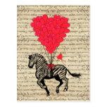 Balões engraçados da zebra & do coração do vintage cartoes postais