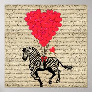 Balões engraçados da zebra & do coração do vintage impressão