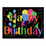 Balões felizes da festa de aniversário cartões postais