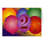 Balões felizes do segundo aniversário cartao