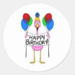 Balões lunáticos do feliz aniversario do flamingo adesivos