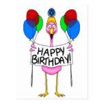 Balões lunáticos do feliz aniversario do flamingo cartoes postais