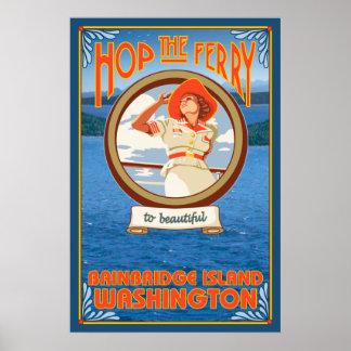 Balsa da equitação da mulher - ilha de Bainbridge, Pôster