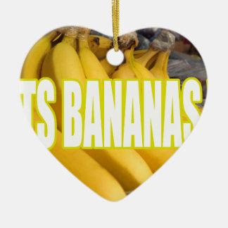 Bananas Yo de Dats Ornamento De Cerâmica Coração
