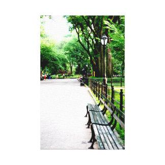 Banco do Central Park Impressão De Canvas Esticada