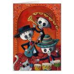 Banda de esqueleto de Diâmetro de Muertos Musical Cartão