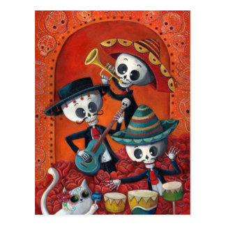 Banda de esqueleto de Diâmetro de Muertos Musical Cartoes Postais