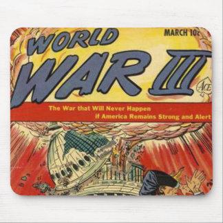 Banda desenhada do vintage da guerra mundial 3 mouse pad