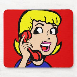 Banda desenhada Mousepad da menina de telefone
