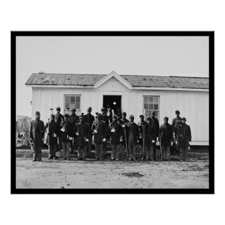 Banda militar 1865 do afro-americano poster