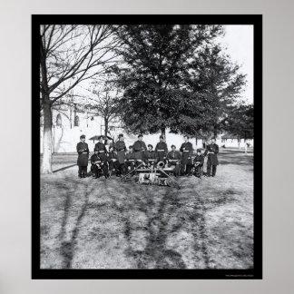 Banda militar com instrumentos 1865 poster