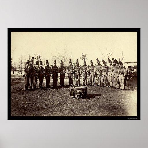Banda militar do corpo 1865 da reserva do veterano impressão