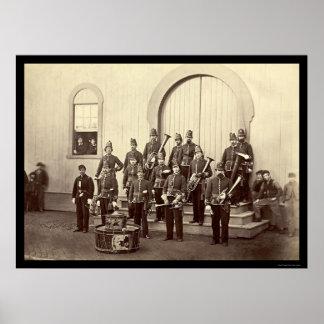 Banda militar em Washington, C.C. 1865 do veterano Impressão