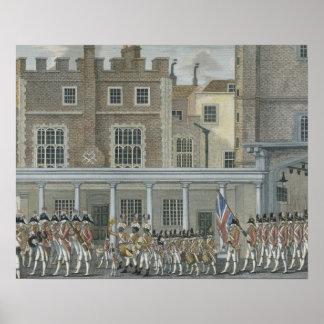 Banda militar no palácio de St James, tarde 18o ce Poster