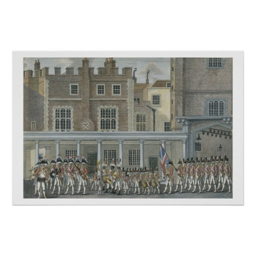 Banda militar no palácio de St James, tarde 18o ce Posters